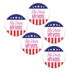 12 Units of My Voice. My Vote. Party Buttons - Party Novelties