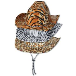 6 Units of Animal Print Cowboy Hats asstd designs; one size fits most - Costumes & Accessories