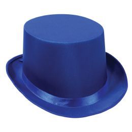 6 Units of Satin Sleek Top Hat blue; one size fits most - Costumes & Accessories