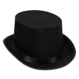 6 Units of Satin Sleek Top Hat black; one size fits most - Costumes & Accessories