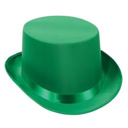 6 Units of Satin Sleek Top Hat green; one size fits most - Costumes & Accessories