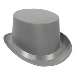 6 Units of Satin Sleek Top Hat gray; one size fits most - Costumes & Accessories