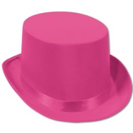 6 Units of Satin Sleek Top Hat pink; one size fits most - Costumes & Accessories