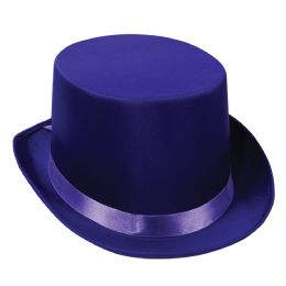 6 Units of Satin Sleek Top Hat purple; one size fits most - Costumes & Accessories