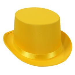 6 Units of Satin Sleek Top Hat yellow; one size fits most - Costumes & Accessories