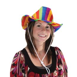 6 Units of Rainbow Cowboy Hat one size fits most - Costumes & Accessories