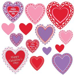 12 Units of Valentine's Day Cutouts prtd 2 sides; 2–4 , 6–6 , 4–9 , 2–12 - Store