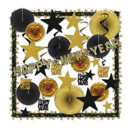 Glistening Gold Ny Decorating Kit Piece Count: 32 - Party Supplies
