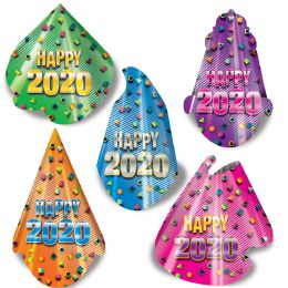50 Units of 2020 Party Hat Assortment Asstd Colors; One Size Fits Most; Elastic Attached - Party Novelties