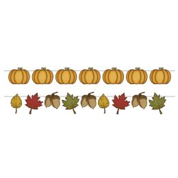 12 Units of Rustic Fall Streamer Set 16 4.5 6 pieces w/12inc cord; makes 2 streamers; assembly required - Party Banners