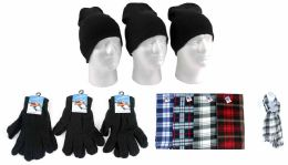 540 Units of Adult Beanie Knit Hats, Magic Gloves, And Checkered Scarves Combo Packs - Winter Sets Scarves , Hats & Gloves