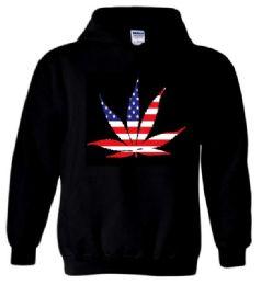 6 Units of AMERICAN POT LEAF Black Color Hoody Plus Size - Mens Sweat Shirt