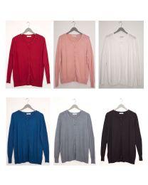 36 Units of Basic Crew Neck Cardigan Assorted - Womens Sweaters & Cardigan