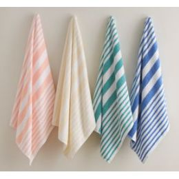 12 Units of Beach Towel Peach Stripe 100% Ring Spun Cotton - Towels