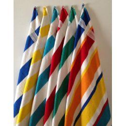 24 Units of BK Cabana Stripes-Top of the Line Beach Towel 100% Cotton Multi-Stripe Color - Beach Towels