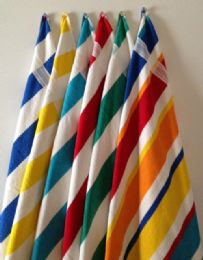 12 Units of Bk Cabana StripeS-Top Of The Line Beach Towel 100% Cotton Multi Striped - Beach Towels