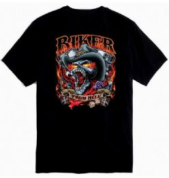 12 Units of Black Color T Shirt Biker From Hell Plus Size - Mens T-Shirts
