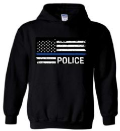 12 Units of Black Hoody Blue Line Police - Mens Sweat Shirt