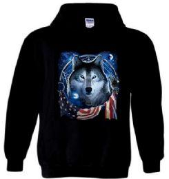 12 Units of Black Hoody WOLF DREAM FLAG - Mens Sweat Shirt