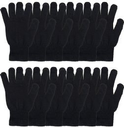 60 Units of Yacht & Smith Unisex Black Magic Gloves BULK PACK - Knitted Stretch Gloves