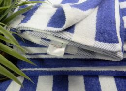 12 Units of Blue Cabana StripE-Palm Collection 34x68 Cotton - Beach Towels