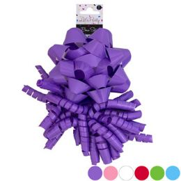 36 Units of Bow Set 2pk Star & Curly Solid 6ast Shiny Varnish Colors - Party Favors
