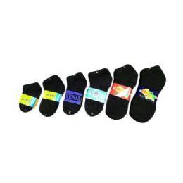 144 Units of Boy/Girl Black Spandex Sock In Black Size 6-8 - Girls Ankle Sock