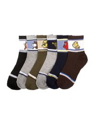216 Units of Boys Assorted Animal Printed Crew Sock Size 4-6 - Boys Crew Sock