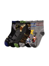 216 Units of Boys Assorted Design Printed Crew Sock Size 4-6 - Boys Crew Sock