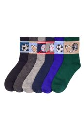 216 Units of Boys Assorted Sport Printed Crew Sock Size 6-8 - Boys Crew Sock