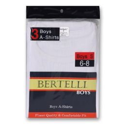 24 Units of Boys Bertelli 2 pack white a-shirts size Large - Boys Underwear