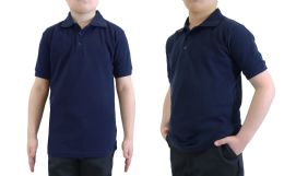 36 Units of Boys Cotton Blend Short Sleeve School Uniform Polo Shirt - SOLID NAVY SIZE 7 - Boys School Uniforms