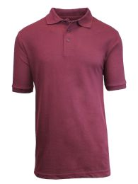 36 Units of Boys Cotton Blend Short Sleeve School Uniform Polo Shirt - SOLID BURGUNDY SIZE 7 - Boys School Uniforms