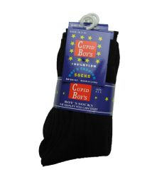 144 Units of Boys Nylon Dress Socks, Boys Uniform Socks, Solid Black Size L - Boys Dress Socks