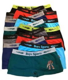 252 Units of Boys Seamless Boxer Shorts Assorted Color In Large - Boys Underwear