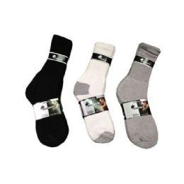 144 Units of Boys Sport Sock Crew In Black Size 10-13 - Boys Crew Sock
