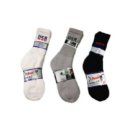 144 Units of Boys Sport Sock Crew with Logo In Black Size 10-13 - Boys Crew Sock