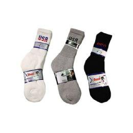 144 Units of Boys Sport Sock Crew with Logo In Grey Size 10-13 - Boys Crew Sock