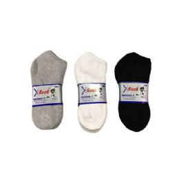 144 Units of Boys Sports Sock Low Cut In Grey Size 9-11 - Boys Ankle Sock