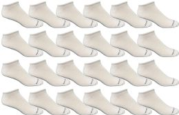 24 Units of Bulk Pack Men's Cotton Light Weight Breathable No Show Loafer Socks, White Size 10-13 - Mens Ankle Sock