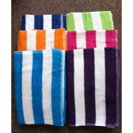 24 Units of Cabana Stripe 100% Beach Towels Assorted Colors Size 32x65 - Beach Towels