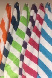 12 Units of Cabana Stripe 100% Beach Towels Assorted Colors Size 32x65 - Beach Towels