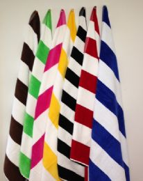 12 Units of Cabana Stripe Beach Towel - Terry Craft Velour Size 35x60 In Red - Beach Towels