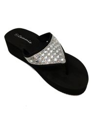 18 Units of CAMMIE DOUBLE WEDGE SANDALS WITH RHINESTONES IN BLACK - Women's Sandals
