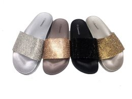 18 Units of CAMMIE WOMEN SLIDE ON SANDALS WITH GLITTER BLACK ONLY - Women's Sandals