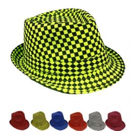 600 Units of Checkered Assorted Fedora Hat - Fedoras, Driver Caps & Visor