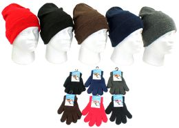 240 Units of Children's Cuffed Knit Hats And Magic Gloves Combo Packs - Winter Sets Scarves , Hats & Gloves