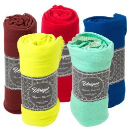 24 Units of Closeout Premium Fleece Throw Blankets Bulk Buy - Sleep Gear