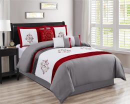 4 Units of COLLINS QUEEN SIZE RED 7 PIECE BEDDING SET - Comforters & Bed Sets