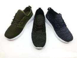 12 Units of Contemporary Men's Breathable Sneakers With Laces In Olive - Men's Sneakers